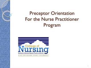 Preceptor Orientation For the Nurse Practitioner Program