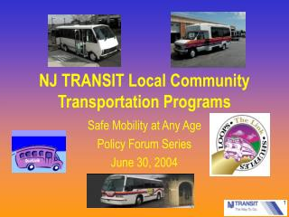 NJ TRANSIT Local Community Transportation Programs