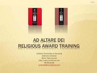 Ad  Altare  Dei Religious Award Training