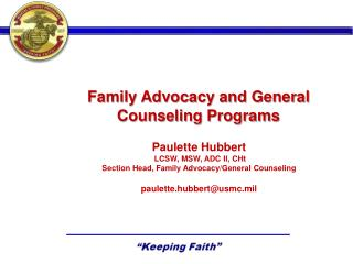 Family Advocacy and General Counseling Programs