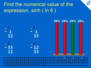 Find the numerical value of the expression. sinh ( ln 6 )
