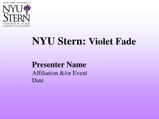 NYU Stern: Violet Fade
