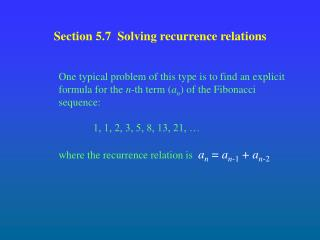 Section 5.7  Solving recurrence relations