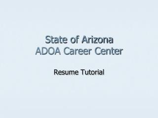 State of Arizona ADOA Career Center