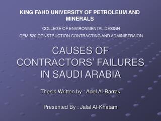 CAUSES OF CONTRACTORS  FAILURES IN SAUDI ARABIA