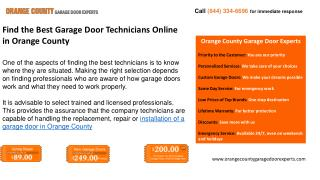 Find the Best Garage Door Technician Online in Orange County