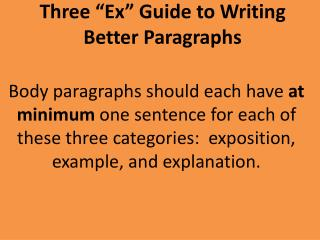 "Three ""Ex"" Guide to Writing Better Paragraphs"