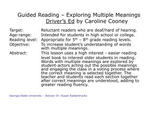 Guided Reading – Exploring Multiple Meanings Driver's Ed  by Caroline Cooney