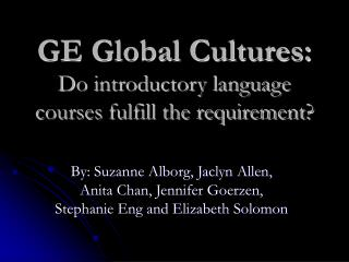 GE Global Cultures: Do introductory language courses fulfill the requirement?
