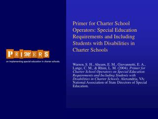 PRIMER FOR CHARTER SCHOOL OPERATORS: SPECIAL EDUCATION ...