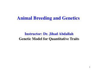 Animal Breeding and Genetics
