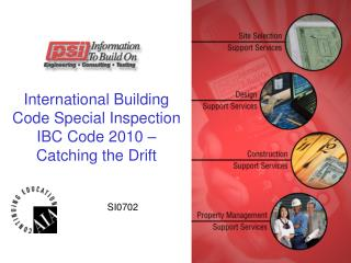 International Building Code Special Inspection IBC Code 2010               Catching the Drift
