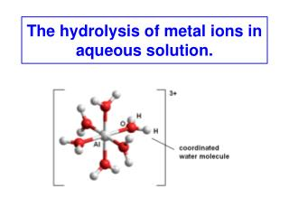 The hydrolysis of metal ions in aqueous solution.