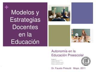 Autonom a en la Educaci n Preescolar