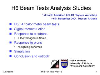 H6 Beam Tests Analysis Studies