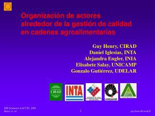 Organizaci n de actores  alrededor de la gesti n de calidad  en cadenas agroalimentarias