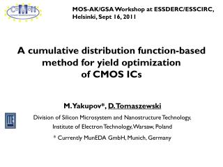 A cumulative distribution function-based method for yield optimization of CMOS ICs