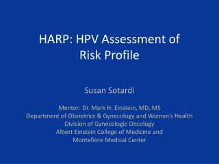 HARP: HPV Assessment of  Risk Profile