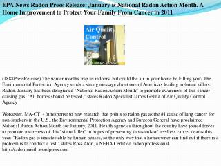 EPA News Radon Press Release: January is National Radon Acti