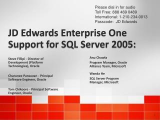 JD Edwards Enterprise One Support for SQL Server 2005: