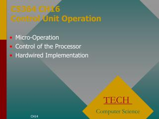 CS364 CH16  Control Unit Operation