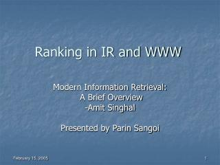 Ranking in IR and WWW