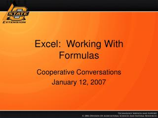 Excel:  Working With Formulas