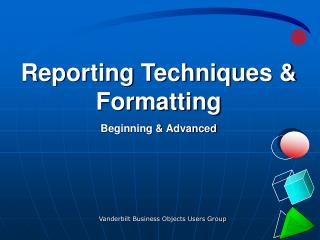 Reporting Techniques & Formatting Beginning & Advanced