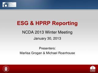 ESG & HPRP Reporting