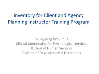Inventory for Client and Agency Planning Instructor Training Program