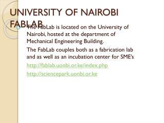 UNIVERSITY OF NAIROBI FABLAB