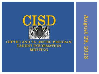 CISD Gifted And Talented Program Parent Information Meeting