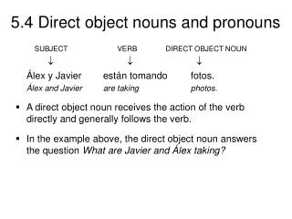 SUBJECT 	 	       VERB 	  DIRECT OBJECT NOUN ?		         ? 	             ?