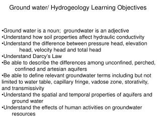 Ground water/ Hydrogeology Learning Objectives