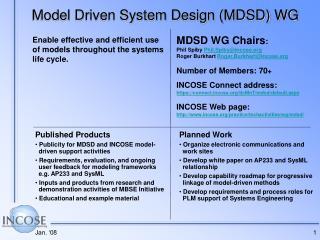 Model Driven System Design (MDSD) WG