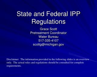 State and Federal IPP Regulations
