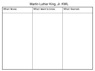 Martin Luther King, Jr. KWL