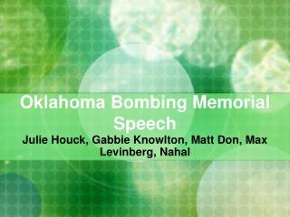 Oklahoma Bombing Memorial Speech