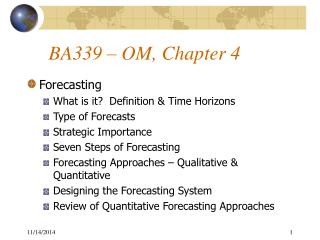 BA339 � OM, Chapter 4