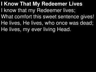 I Know That My Redeemer