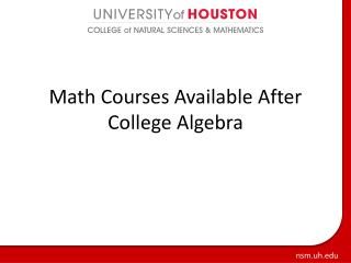 Math Courses Available After College Algebra