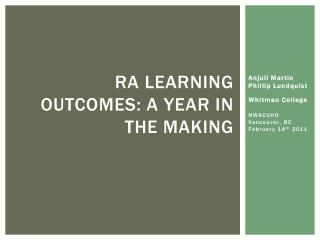 RA learning outcomes: A Year in the making