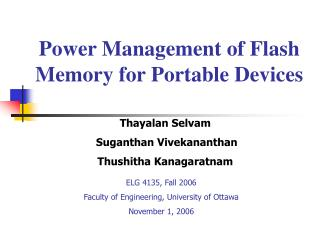 power management of flash memory for portable devices