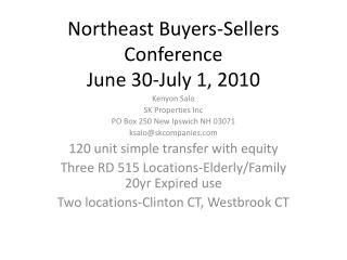 Northeast Buyers-Sellers Conference June 30-July 1, 2010