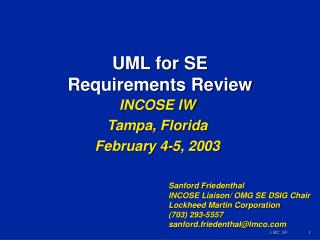 UML for SE Requirements Review