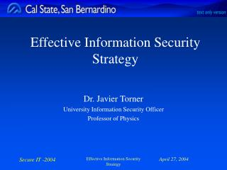 Effective Information Security Strategy