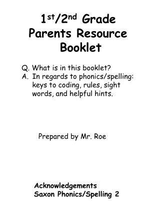 1 st /2 nd  Grade Parents Resource  Booklet