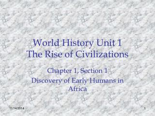 World History Unit 1 The Rise of Civilizations