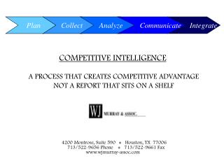 COMPETITIVE INTELLIGENCE  A PROCESS THAT CREATES COMPETITIVE ADVANTAGE
