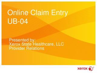 Online Claim Entry UB-04